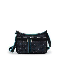 Deluxe Everyday Bag, Nylon Handbags and Classic Purses, Expandable, Crossbody, Black, Flamingo Beach print