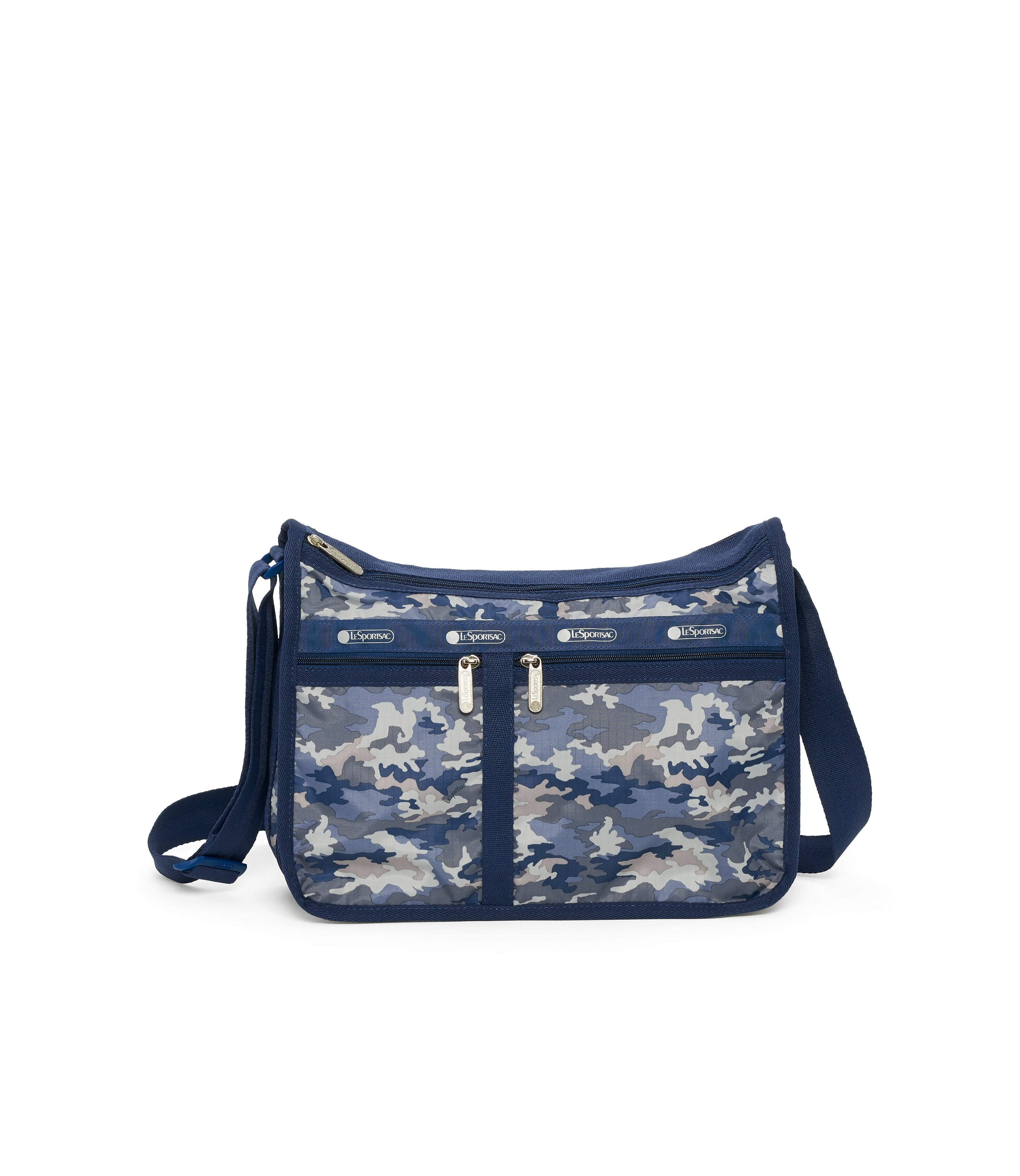 Deluxe Everyday Bag, Nylon Handbags and Classic Purses, Expandable, Crossbody, Camo Blues print