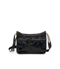 Deluxe Everyday Bag, Nylon Handbags and Classic Purses, Expandable, Crossbody, Black Arrow Liquid Patent