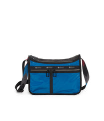 Deluxe Everyday Bag, Nylon Handbags and Classic Purses, Expandable, Crossbody, Blue Arrow Liquid Patent