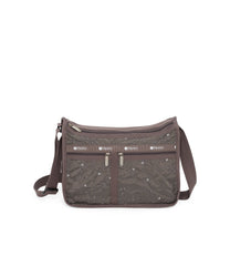 Deluxe Everyday Bag, Nylon Handbags and Classic Purses, Expandable, Crossbody, Autumn Blossom embroidery