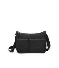 Deluxe Everyday Bag, Nylon Handbags and Classic Purses, Expandable, Crossbody, Fleur De Check Black Debossed