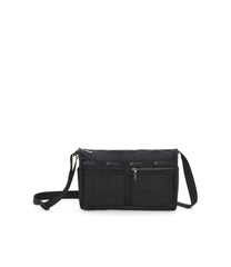 Deluxe Shoulder Satchel, Handbags and Crossbody Bags, LeSportsac, Fleur De Check Black Debossed