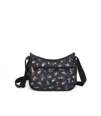 Classic Hobo, Nylon Handbags and Classic Purses, LeSportsac, Zinnia Fields Black print