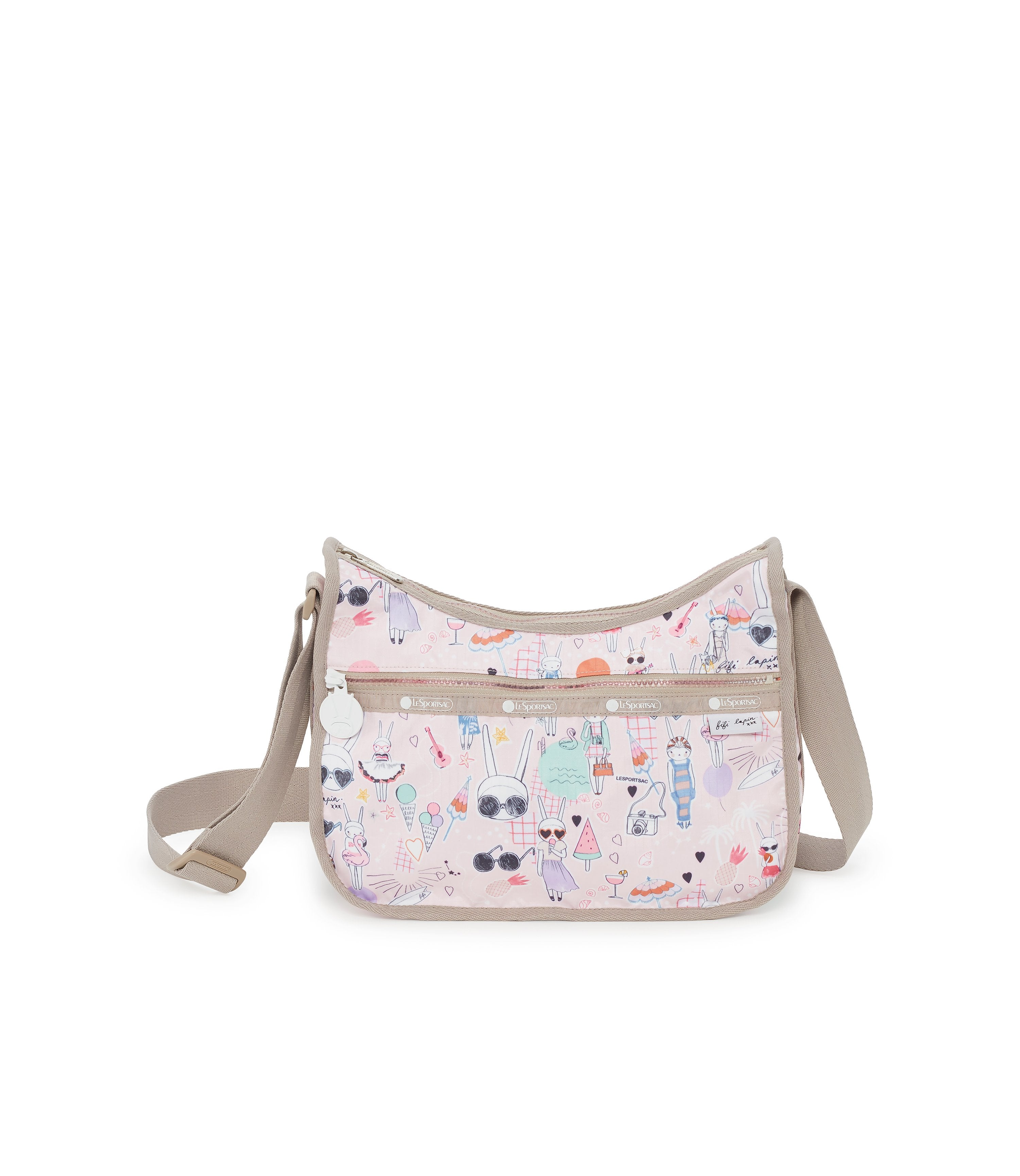 Classic Hobo, Nylon Handbags and Classic Purses, Fifi Lapin, Bunny, Fifi Pool Party print