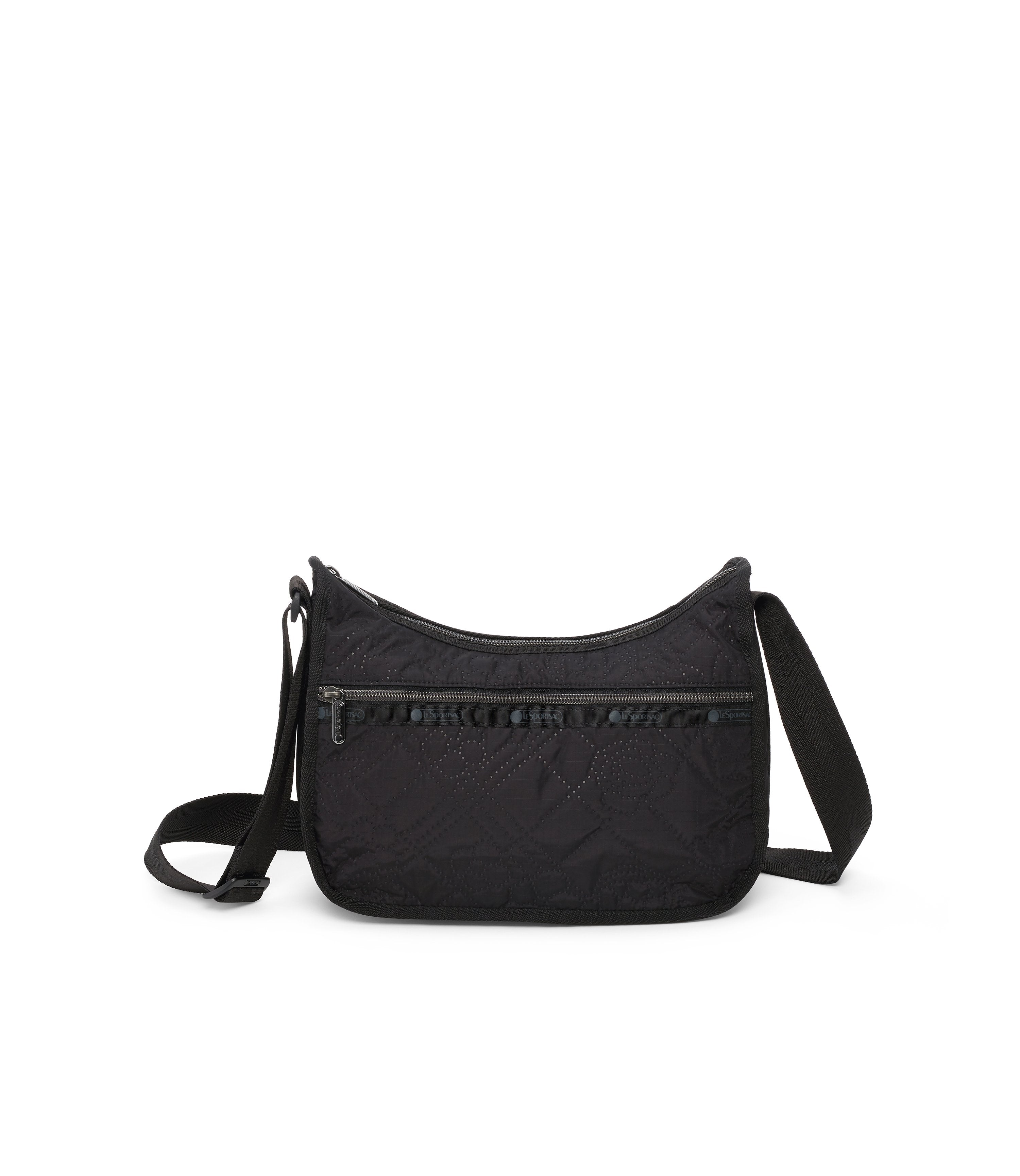 Classic Hobo, Nylon Handbags and Classic Purses, LeSportsac, Fleur De Check Black Debossed
