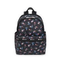 Basic Backpack, Water Resistant Backpacks, LeSportsac, Zinnia Fields Black print