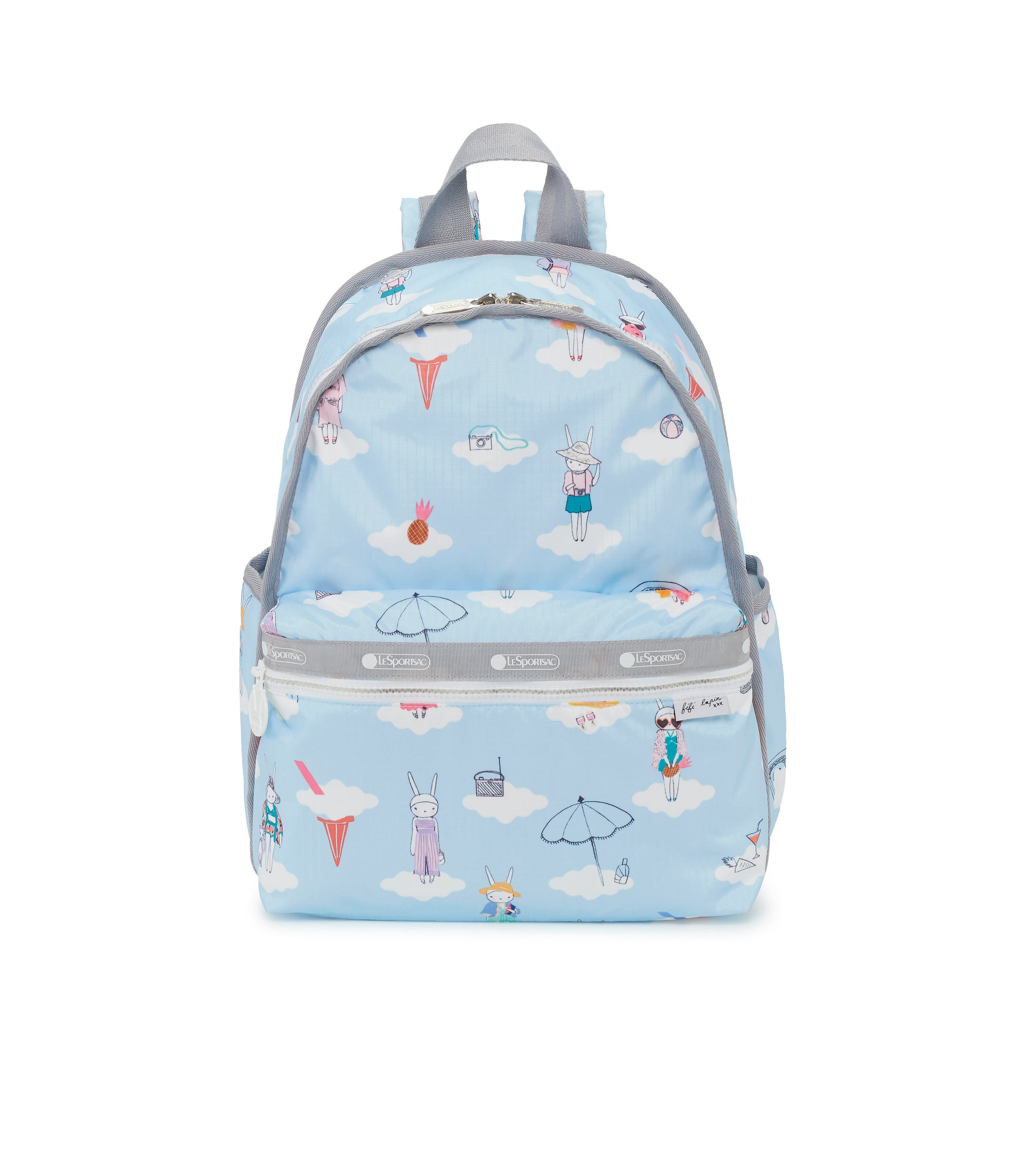 Basic Backpack, Fifi Lapin, Sky Blue Bookbag, Bunny, Clouds, Day Dreaming print