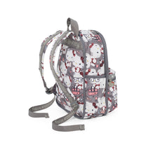 LeSportsac Basic Backpack, Hello Kitty Bookbag, Back view, gray print