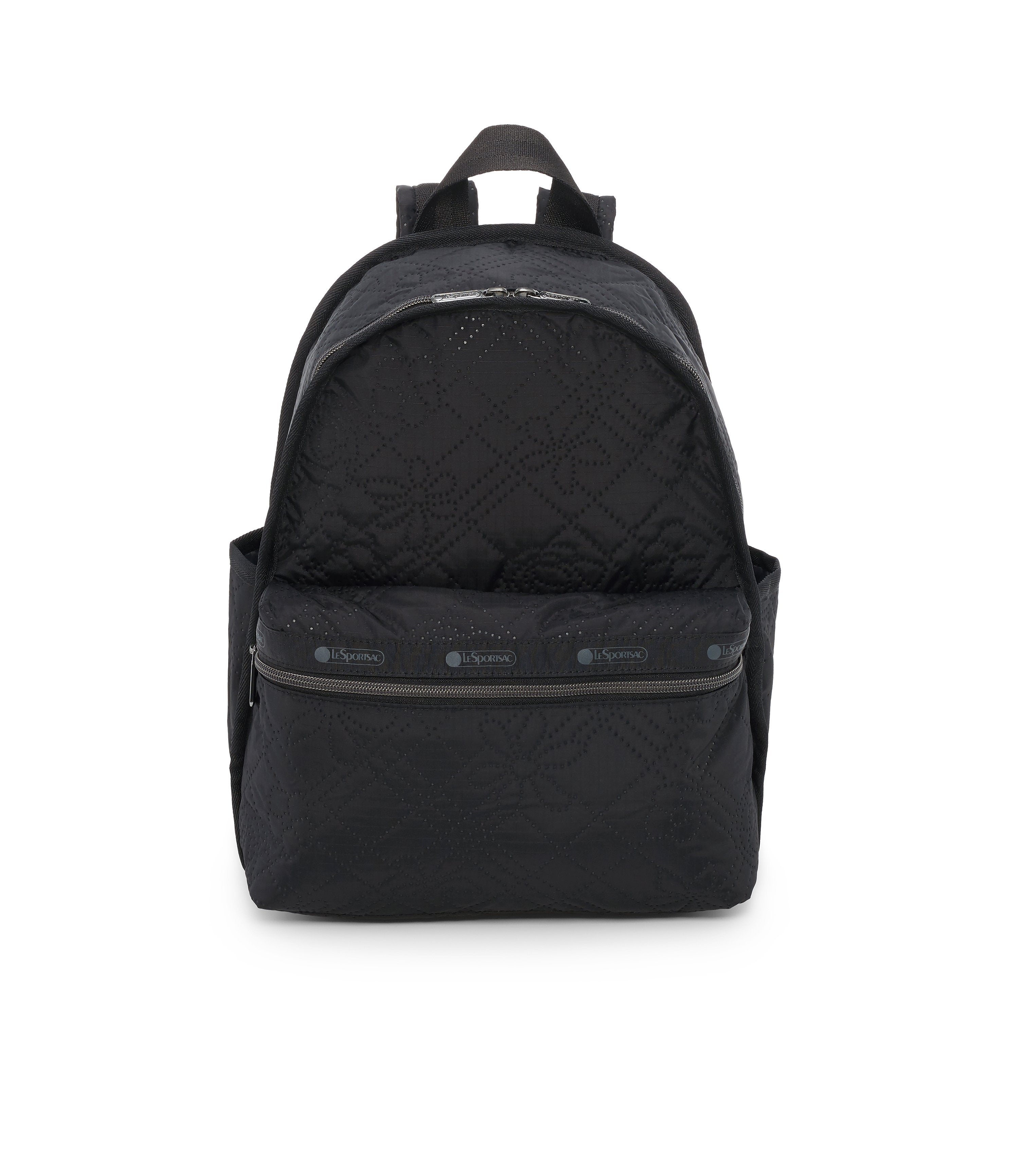 Basic Backpack, Water Resistant Backpacks, LeSportsac, Fleur De Check Black Debossed