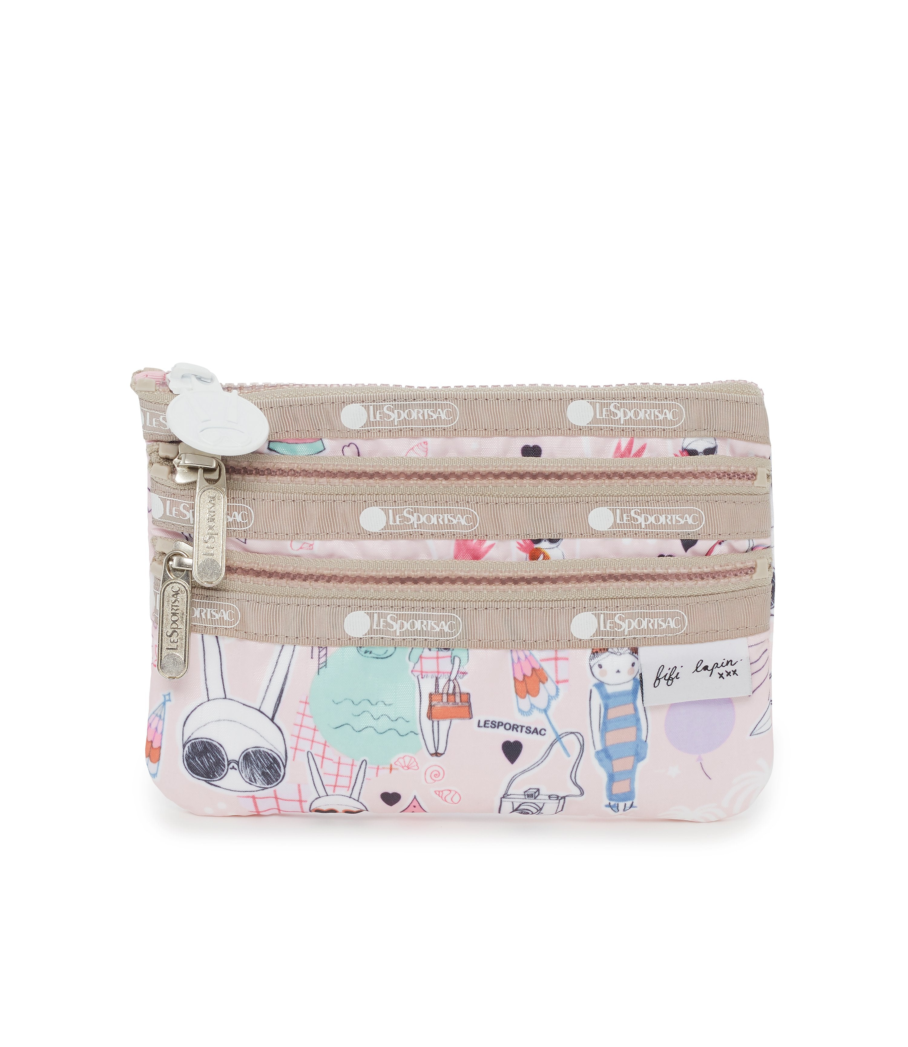 Special 3-Zip Cosmetic, Accessories and Cosmetic Bag, Lesportsac, Fifi Lapin, Fifi Pool Party print