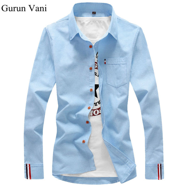 ff0e072555e13 2017 New Fashion Casual Men Shirt Long Sleeve Trend Slim Fit Men Solid  Color High Quality ...