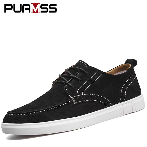 9a8f0cda8af 2018 New Fashion Men s Leather Casual Shoes Spring Brand Shoes Men Loafers  Adult Moccasins Male Sneakers ...