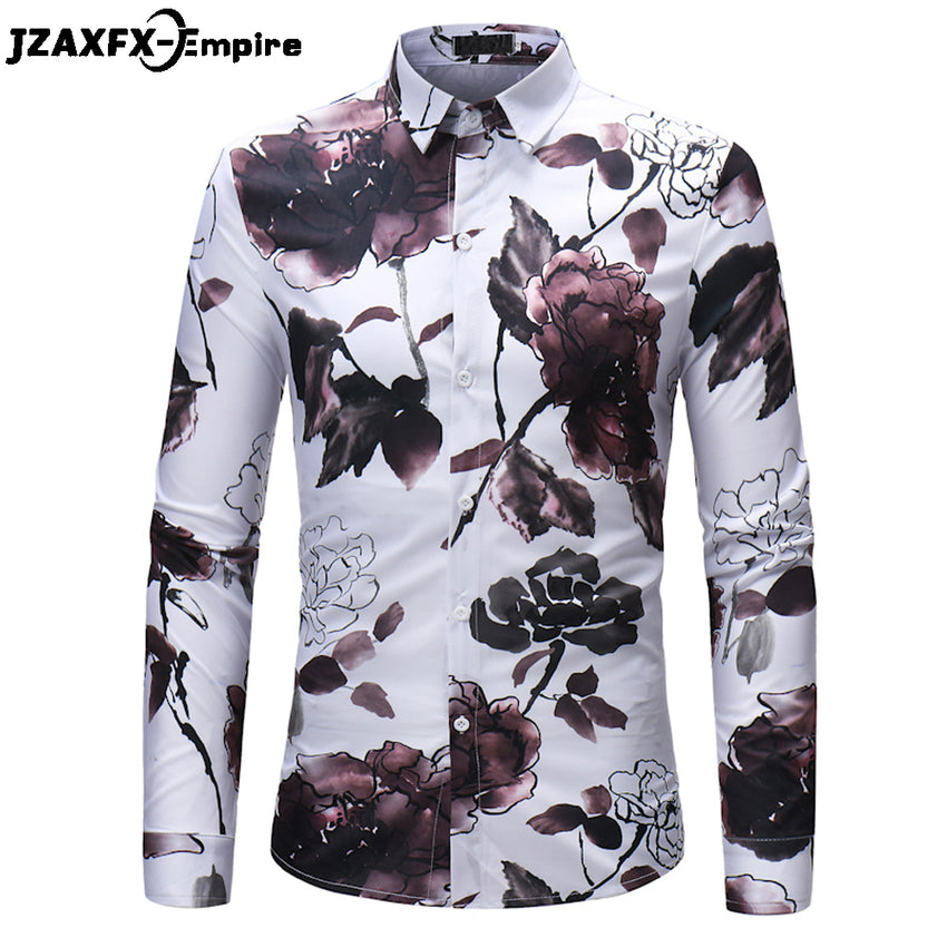 db60c6c5c7 2018 New Print Lotus Flower Shirts Men Fashion Slim fit Shirts camisa  masculina Hip Hop Deisgn