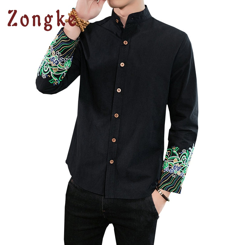 6e3bf116482 2018 Spring New Chinese Style Embroidery Casual Shirt Men Camisas Masculina  Hombre Chemise Homme Mens Shirts Male Camisa Social