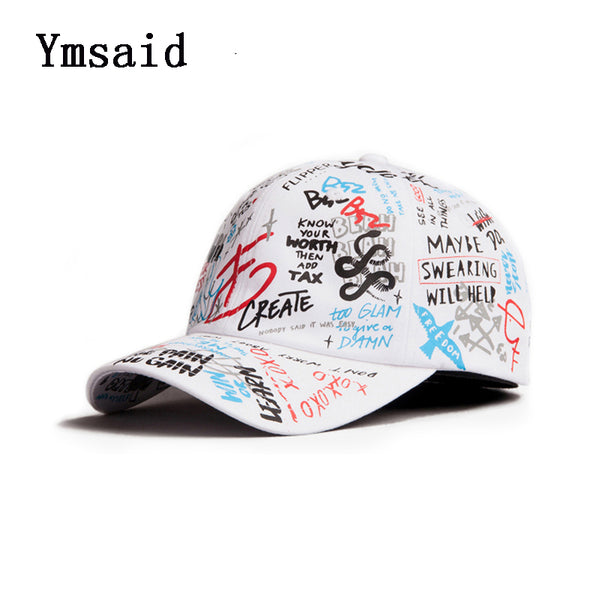 f9ece1b960c56 Adult Graffiti Letter Ribbon White Black Flat Baseball Cap Cotton Casual Hat  Hip Hop Snapback Cap ...