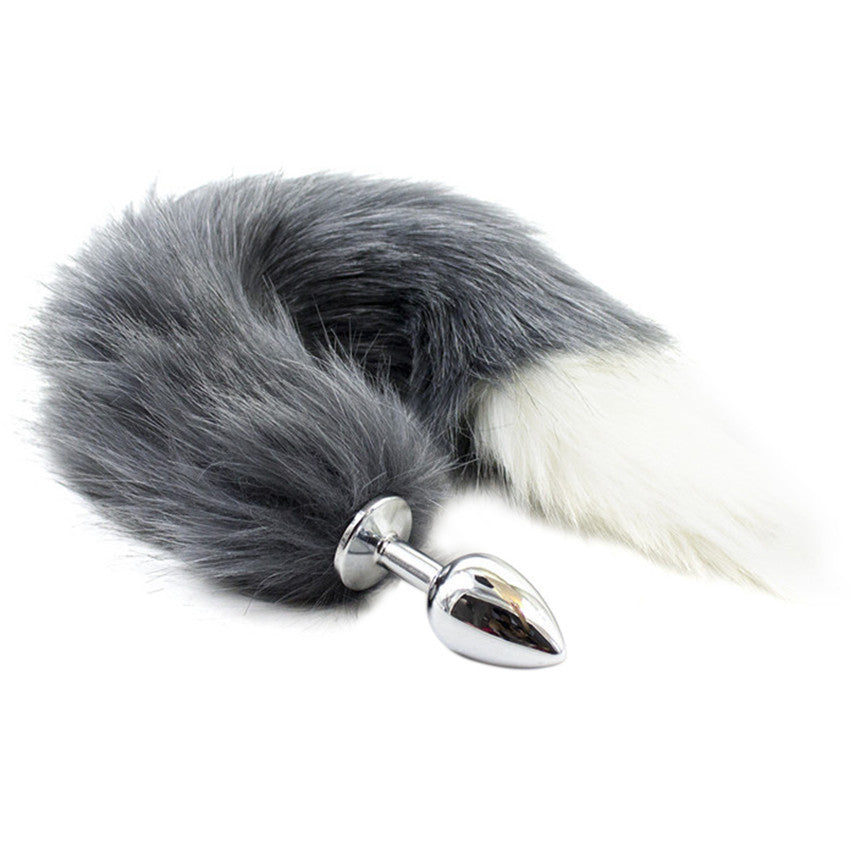 eb1d15ad4 Animal Cat Fox Tail Fetish Stainless Steel Anal Plug Anal Butt Plug White  Grey Color