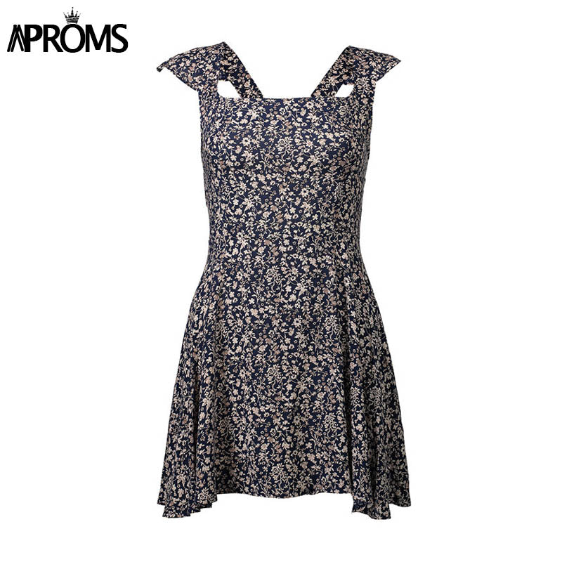 eb1068507d1 Aproms Wine Floral Print Boho Short Dress Women Backless High Waist Summer  Dress Vintage Beach Dress
