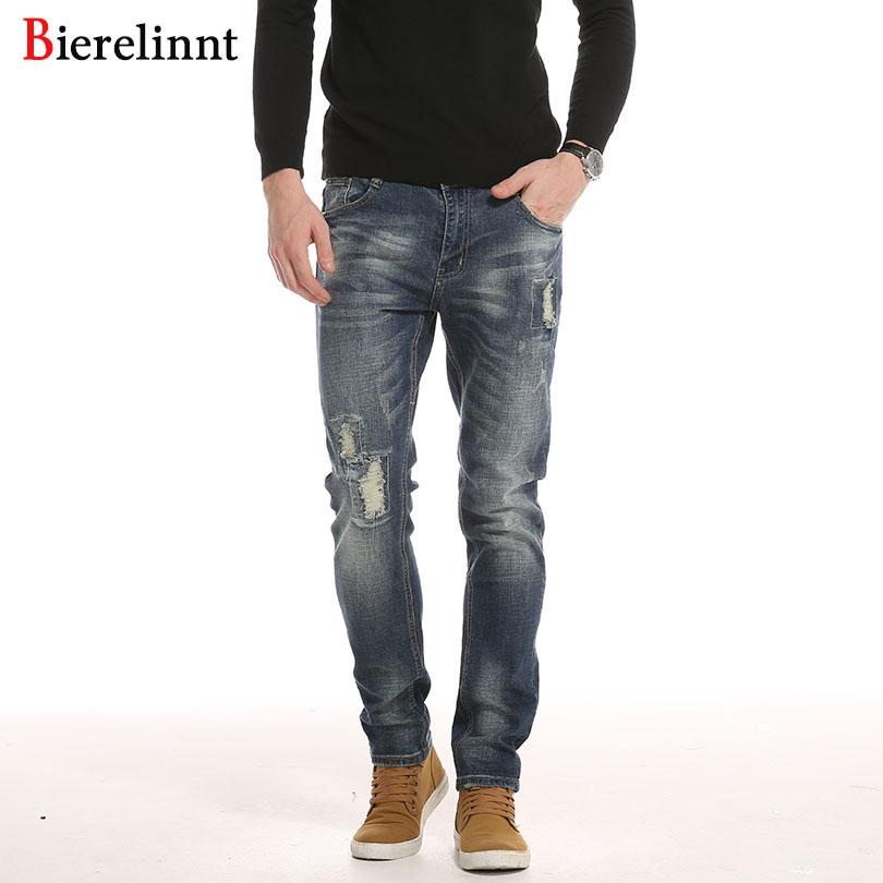45cc39d6 Bierelinnt Ripped Hole 2018 New Retail & Wholesale Cotton Slim Fit  Jeans Men,Good