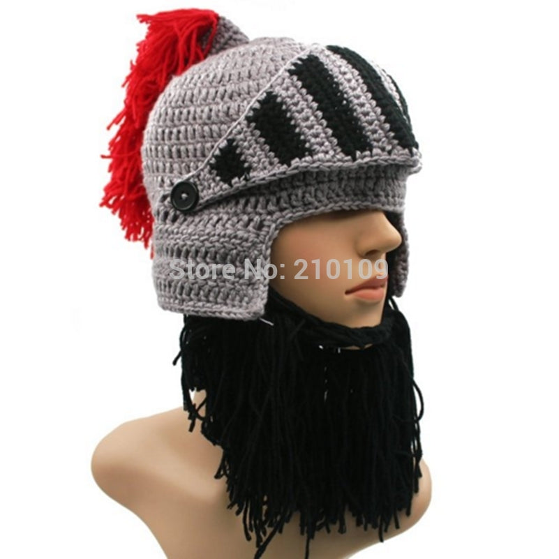 4bb030e10d4 BomHCS Red Tassel Cosplay Roman Knight Knit Helmet Men s Caps Original Barbarian  Handmade Winter Warm Beard