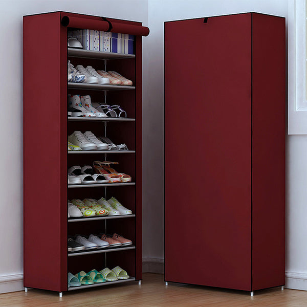 COSTWAY Non Woven Shoe Cabinets 8 Tier Shoes Rack Stand Shelf Shoes  Organizer Living Room