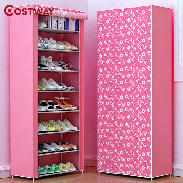 COSTWAY Non-woven Shoe Cabinets 8 Tier Shoes Rack Stand Shelf Shoes ...