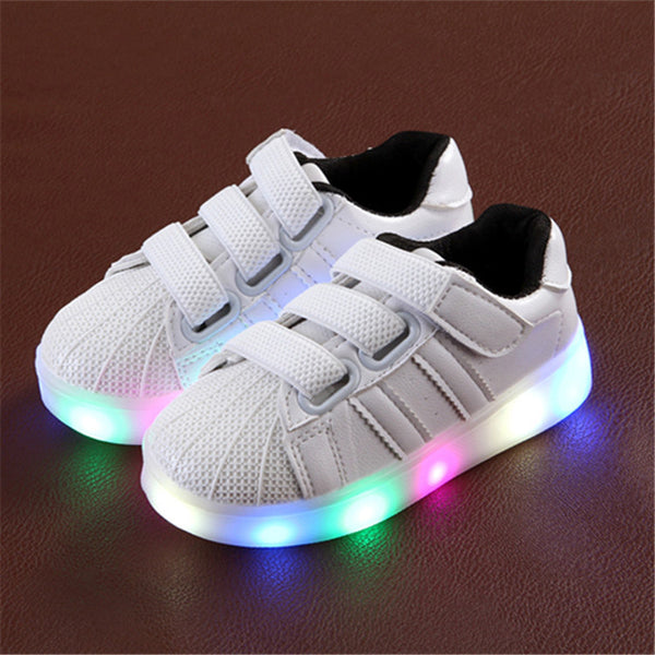 80c74fbad65fb ... Children Flat Led Light shoes Boy Girl Casual Kids Rubber Genuine  leather Baby Spring Rubber Skid