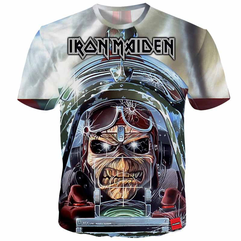 a7ac9843c Cloudstyle 2018 Men 3D Tshirts Iron Maiden Heavy Metal 3D Print Streetwear  Tees Tops Fashion Cool