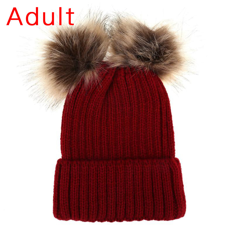 6576b572306 DARCHROW Cute Winter Mom Women Baby Kids Crochet Knitted Hat Caps Children  Girl Boy Wool Fur