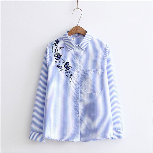 354e9c43 Dioufond New Cotton Casual Plum Blossom Floral Embroidery Blouse Women Long  Sleeve Shirt Blue Striped shirts Female Tops 2017. Rs. 1,059.00. Rs.  2,004.00