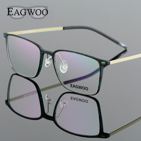 f87bfe8240 EAGWOO EMS Pure Titanium Eyeglasses Girl Men Full Rim Optical Frame  Prescription Spectacle Square Myopia Eye ...