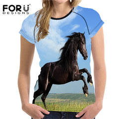 33129fc6 FORUDESIGNS Fashion 3D Crazy Horse Printing Women Summer T shirt Animal  Short Sleeve Top Tee Shirts