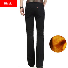 691a6ed71a351 ... Fashion Winter Warm Mens Black Thicken Velvet Boot Cuts Casual Jeans  Men Skinny Flared Jeans Bell