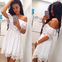 d0e3a7a2 Fashion Women Elegant Vintage sweet lace white Dress Stylish Sexy Slash  Neck Casual Slim Beach Autumn