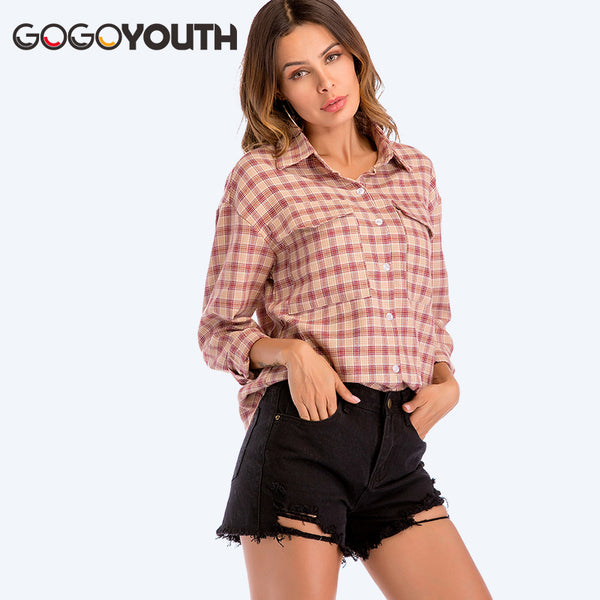 48a9bf149002 Gogoyouth Plaid Women Tops And Blouse 2018 Spring Summer New Fashion Long  Sleeve Shirt Women Red ...
