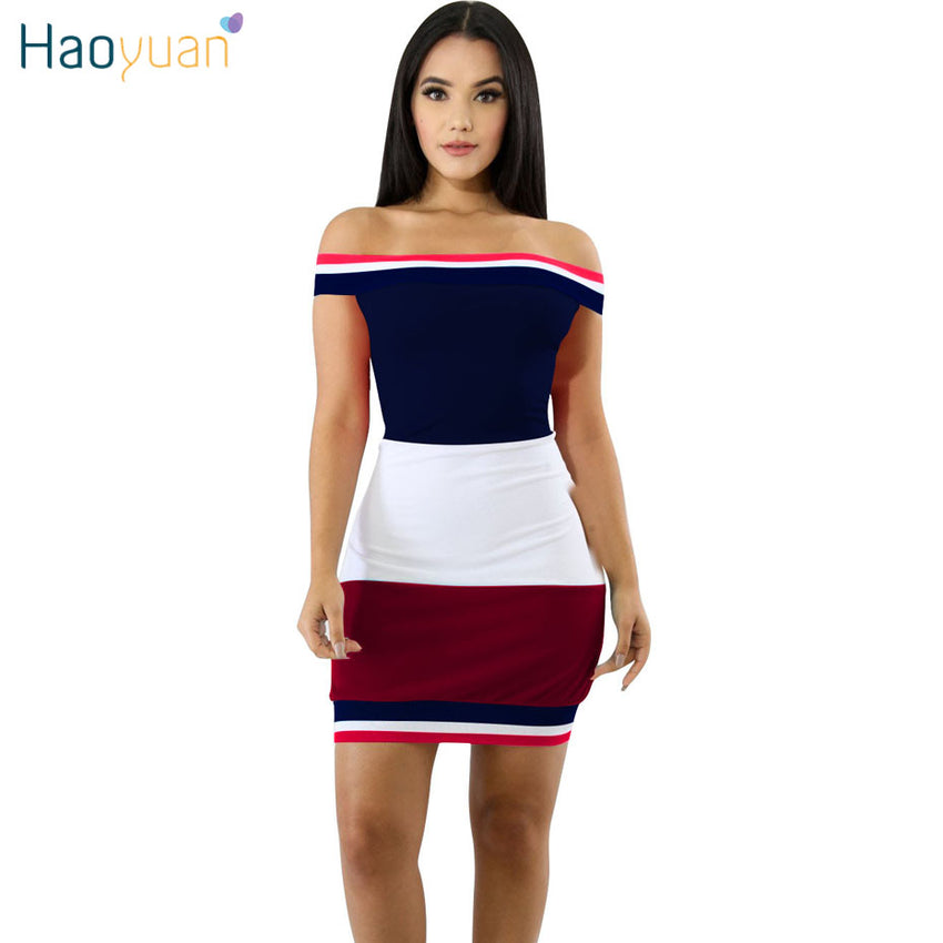 HAOYUAN Women Summer Dress 2018 New Arrival Sundress Casual Wrap Vestidos  Off Shoulder Sexy Dresses Mini 66c8623c1