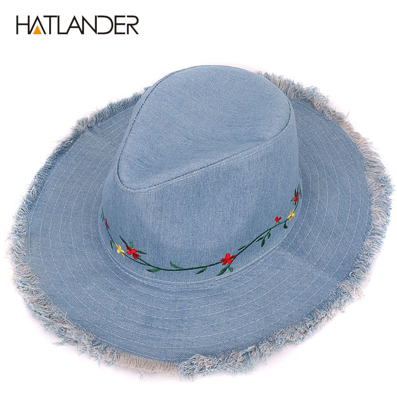 HATLANDER Brand Denim women floral cowboy hat for girls sun cap embroidery  autumn female 8d7ef5e77585