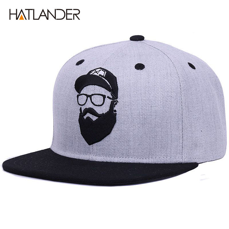 HATLANDER Original grey cool hip hop cap men women hats vintage embroidery  character baseball 9f45da6441c