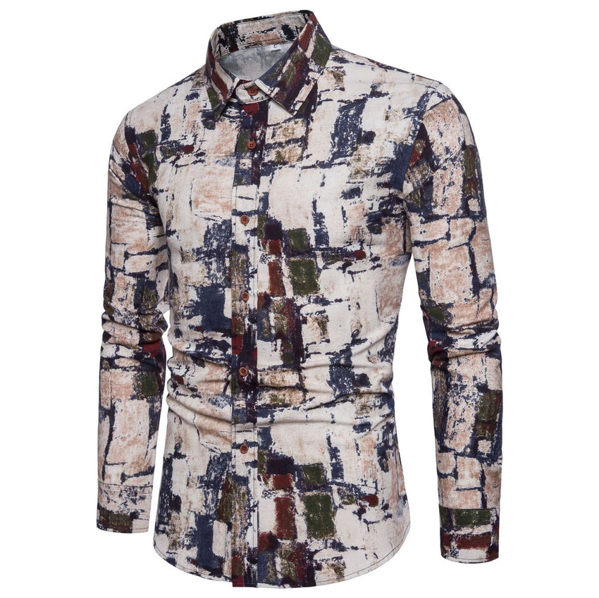 0755e0ec77 Hawaiian Shirt Men Long Sleeve Casual Cotton Flower Shirts For Men Designer  Slim Fit Dress Shirts