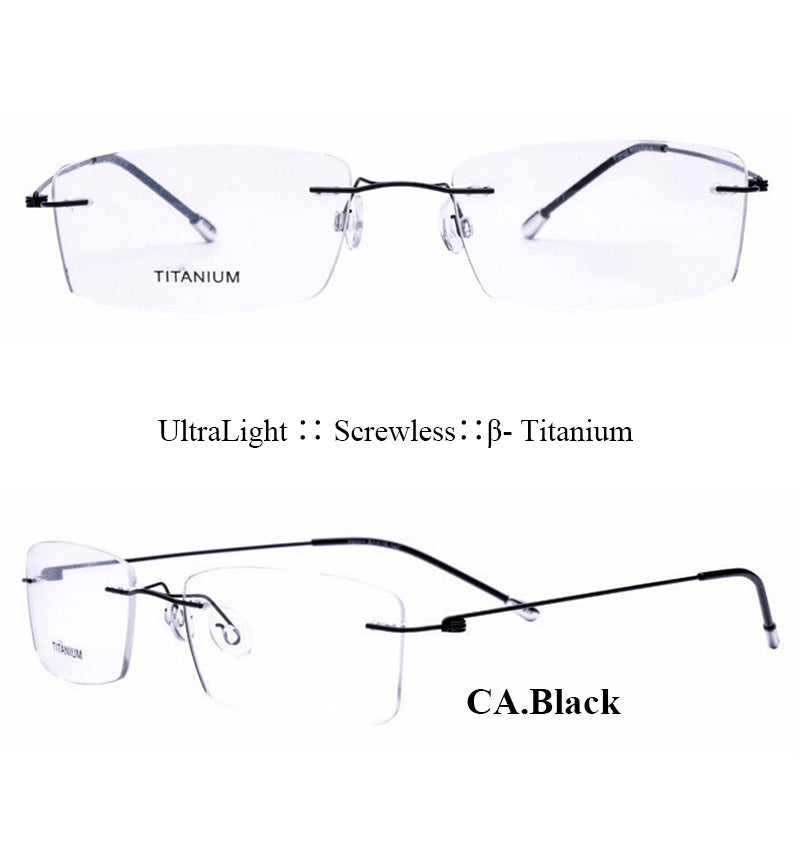 c2c3b602c2b IVSTA Titanium Glasses Men Memory Square Eyeglasses Optical Frame Spectacle  Eyewear Women Prescription Reading Myopia Rimless