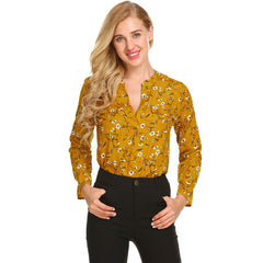 1aa33bc4 Meaneor Vintage Blouse Women Roll-Up Cuffed Sleeve Shirts Floral Print  Asymmetrical Blouses Casual V