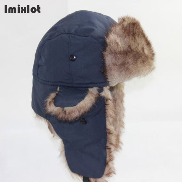 90fa454d1f2 Mens Winter Hats Ear Flaps Bombe Ushanka Russian Hat Warm Solid Color Men  Cap Cozy Fake