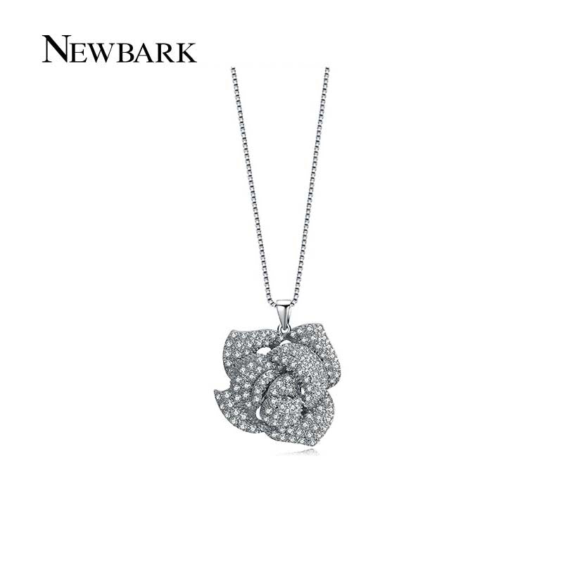 NEWBARK Silver Color Rose Flower Necklace for Women AAA+ Clear CZ Chain  Pendant Necklaces Female Accessories 5820f8a86ebf