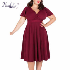 Nemidor Women Sexy V-neck Short Sleeve 50s Party A-line Dress Vintage  Stretchy c01acd82a5d7