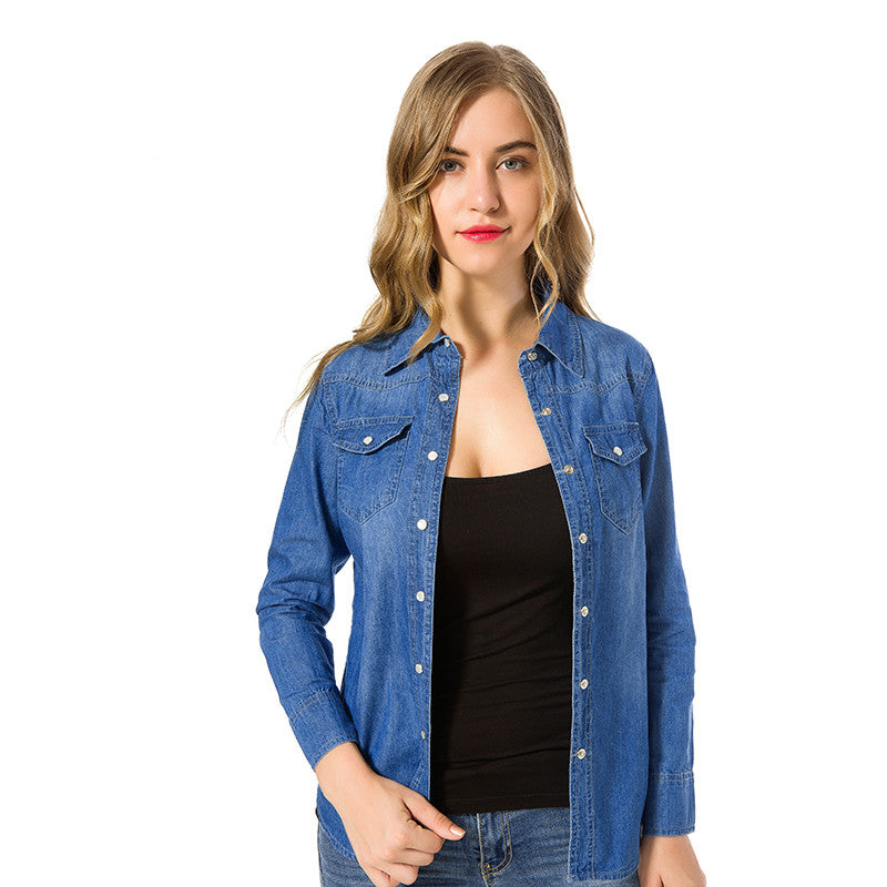 75a1ac528 New 2018 Spring Woman Denim Shirt Fashion Style Long Sleeve Casual Shirts  Women 2 Colors Blouses