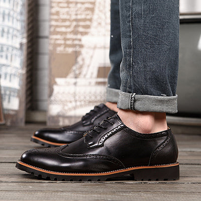 New Arrival Plus Size Vintage Leather Men s Shoes Business Formal Brogue  Pointed Toe Carved Oxfords Vintage 7b15f44a0d91