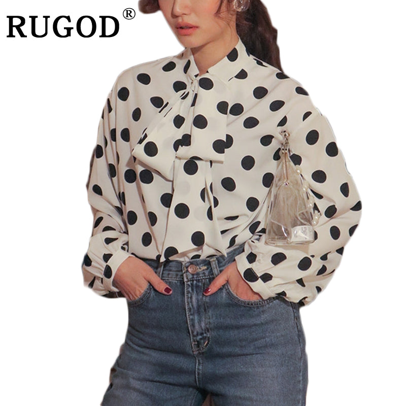 3782f05b793 RUGOD Casual Women Shirt 2018 New Arrival Spring Summer Autumn Turn down  Collar Female Shirt Polka