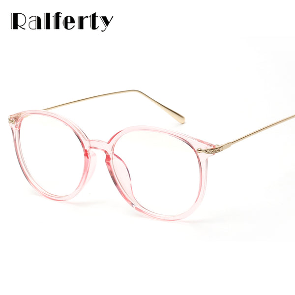20ae7323aa Ralferty Transparent Glasses Frame With Clear Lens Oversized Oval Eyeglasses  Women Gold Myopia Optical Frames Spectacles ...