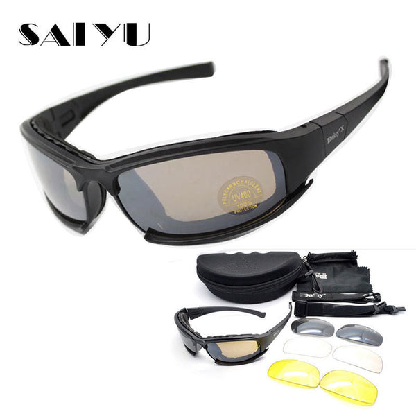 90d412d3d65 SAIYU X7 Military Goggles Bullet-proof Army C6 Polarized Sunglasses 4 Lens  Hunting Shooting Airsoft ...