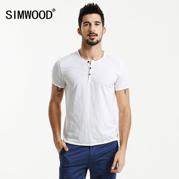 16430bea0a3 SIMWOOD 2018 Summer New T Shirt Men Henry Collar Pure Color Slim Fit  Fashion Casual Tops ...